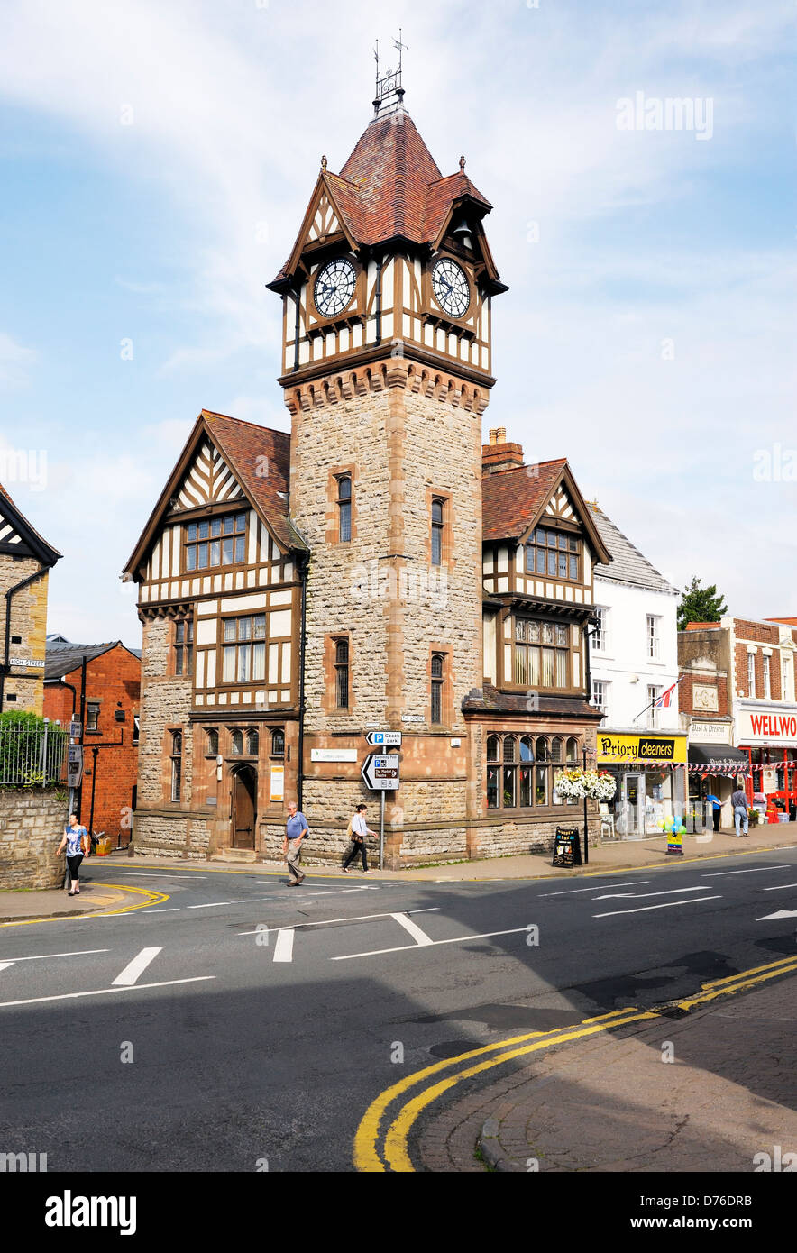 Clock Tower and library on the High Street in the town of Ledbury, Herefordshire, England - Stock Image