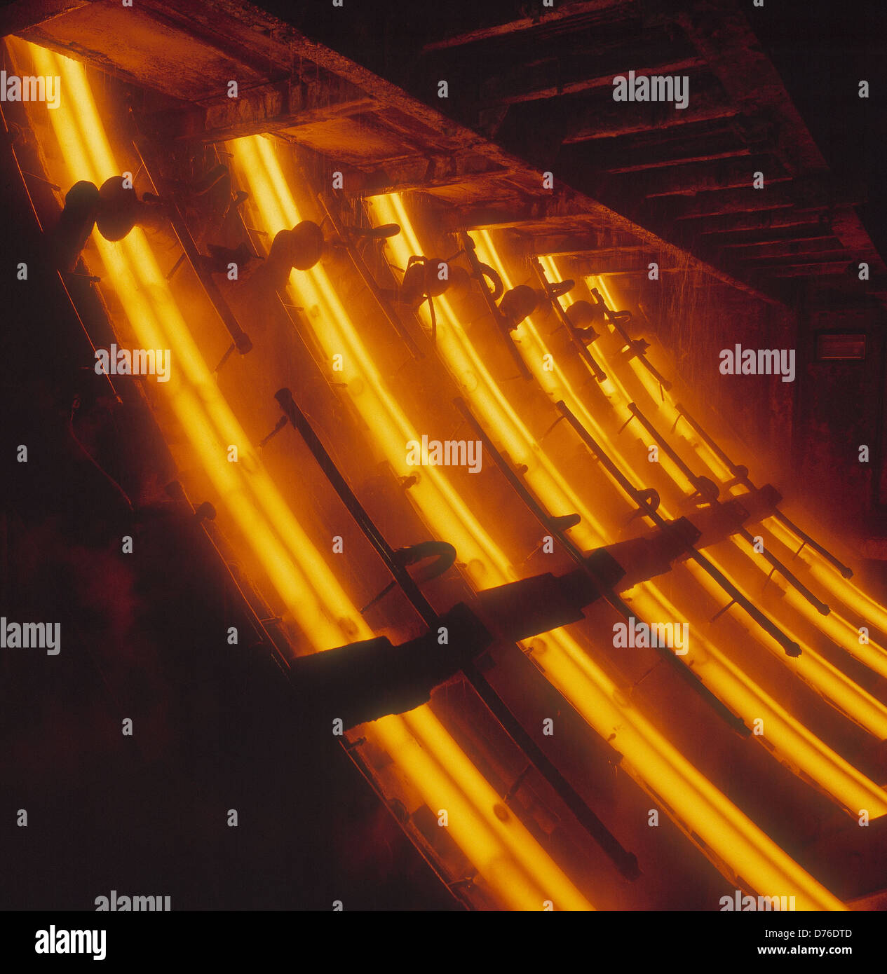 Continuous Casting Plant at Rotherham Engineering Steels U.K. Inside chamber at cooling stage. A ladle of steel Stock Photo