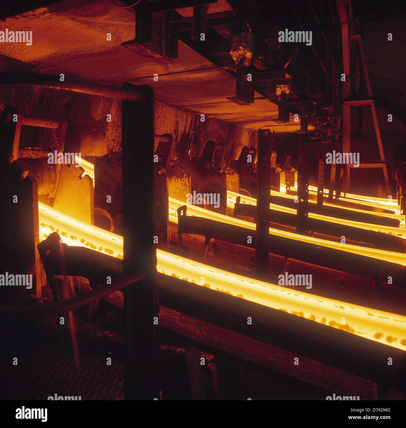 Continuous Steel Casting Plant at British Steel Rotherham. The source is a ladle of molten steel held above. - Stock Image