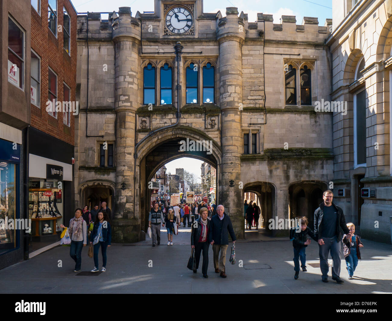 The Guildhall and Stonebow Arch in Lincoln - Stock Image