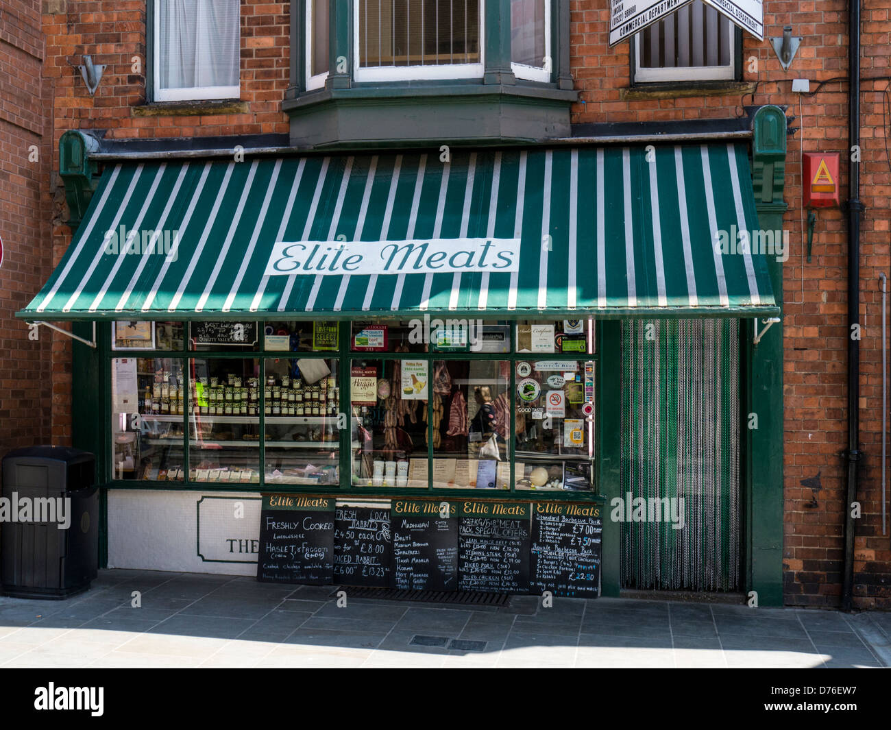 Traditional Butcher Shop in Bailgate, Lincoln - Stock Image