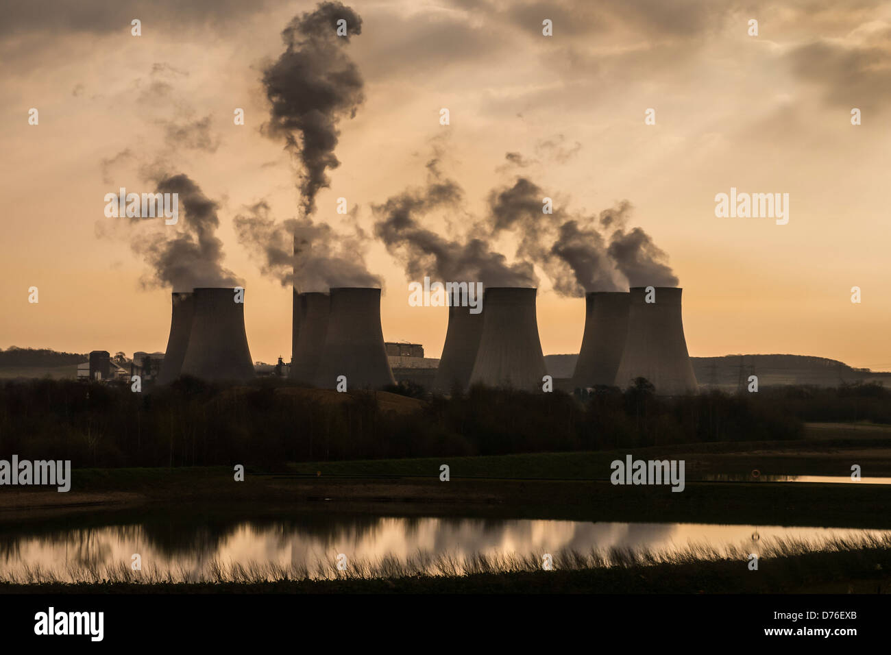 Ratcliffe Power Station with sunrise filter effect - Stock Image