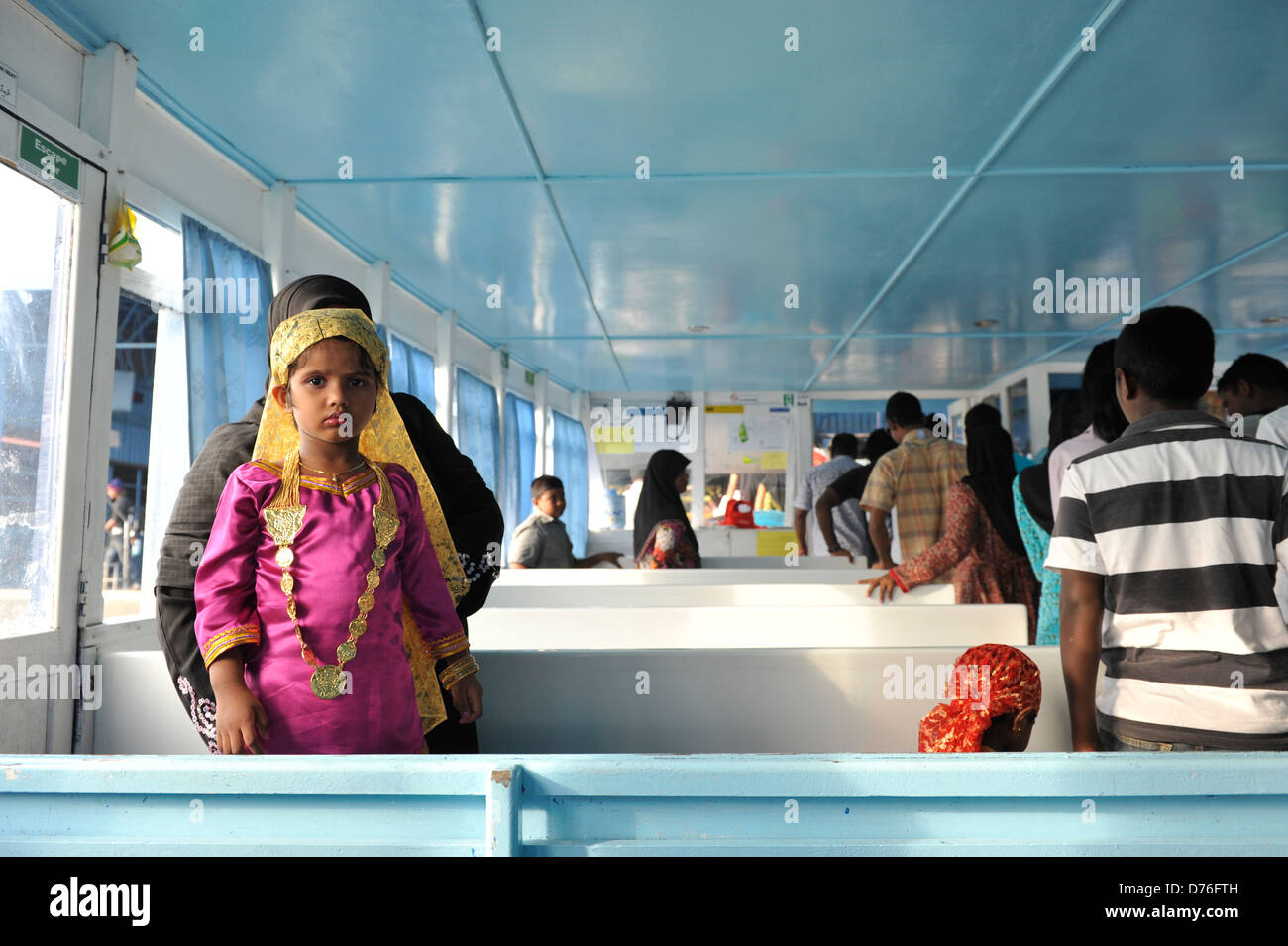 ferry ride to Male from Villingili islands in Maldives - Stock Image