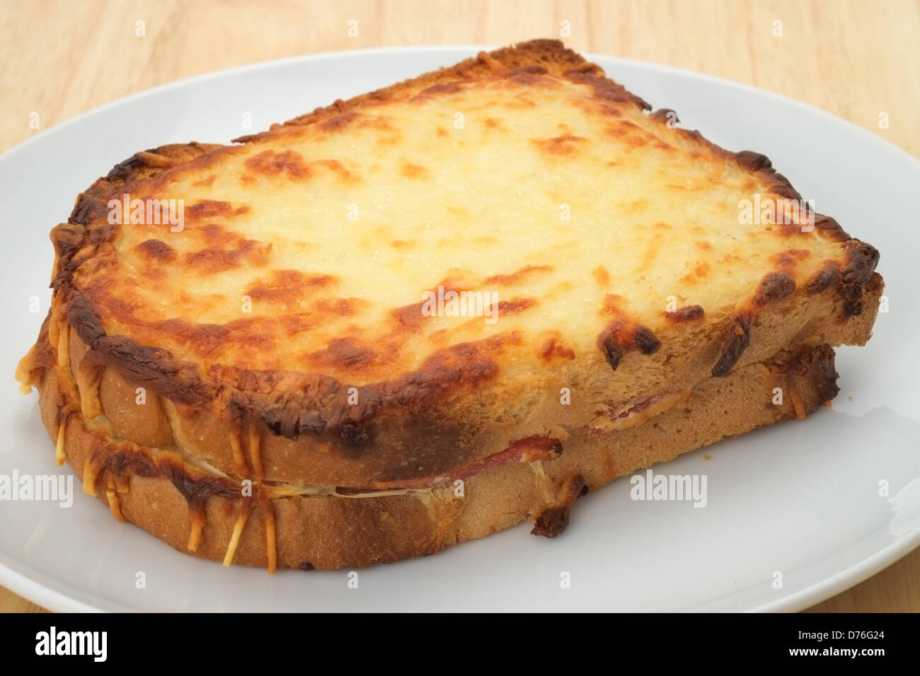 A toasted Croque Monsieur sandwich - Stock Image
