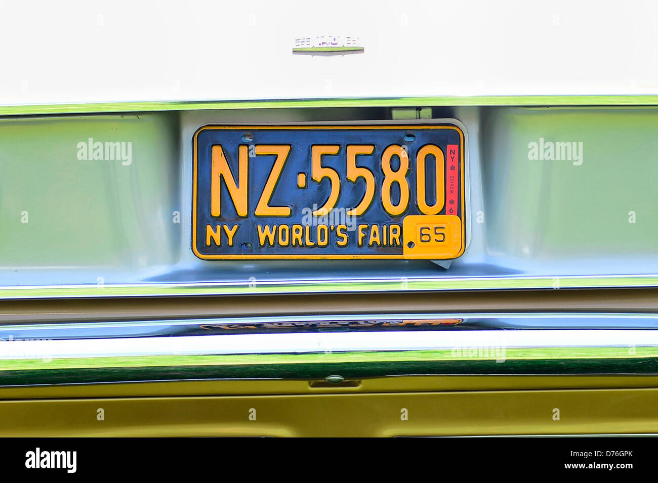 Floral Park, New York, U.S. April 28, 2013. This New York World's Fair 1965 license plate is on the rear of Don Stock Photo
