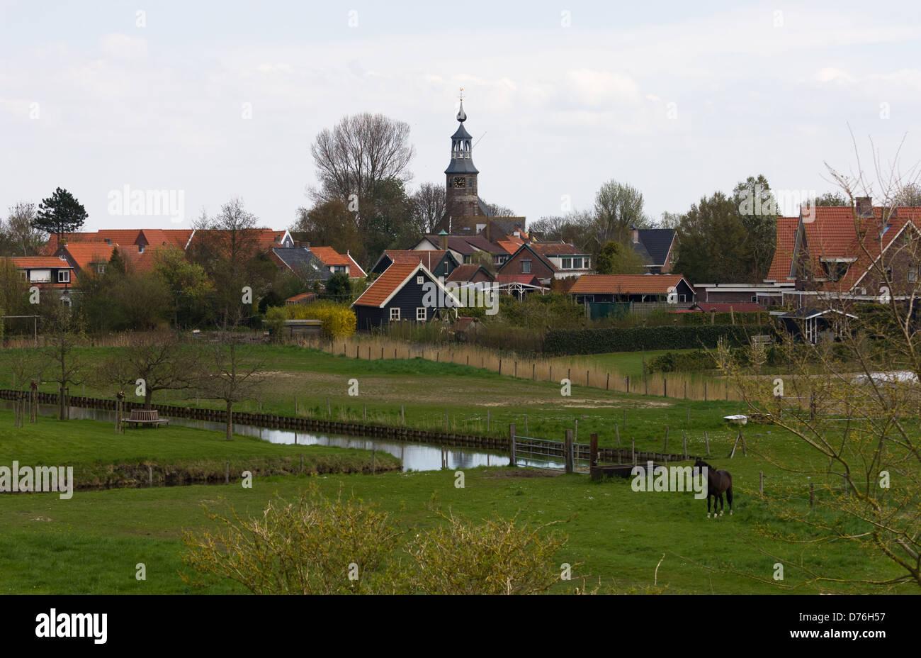 The village of Kattendijke in early spring. Zuid-Beveland. Zeeland, Netherlands. - Stock Image