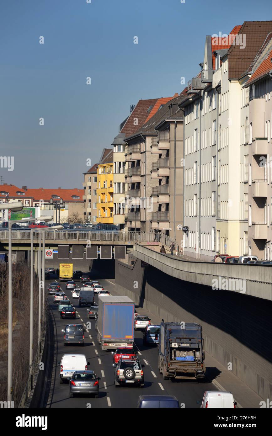 Highway traffic noise houses Reflecting way Charlottenburg Berlin - Stock Image