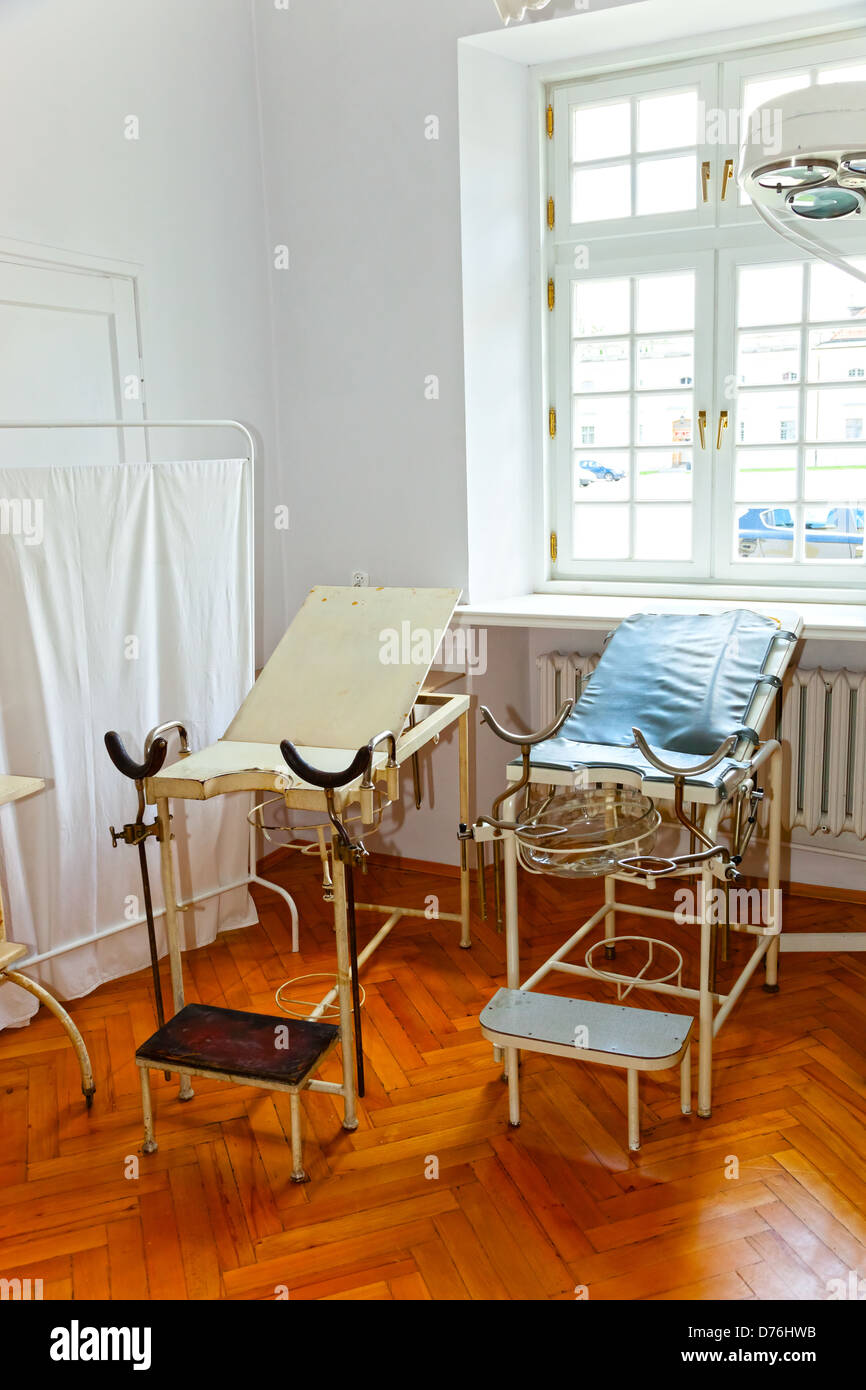 Vintage gynecological chair and equipment of the last