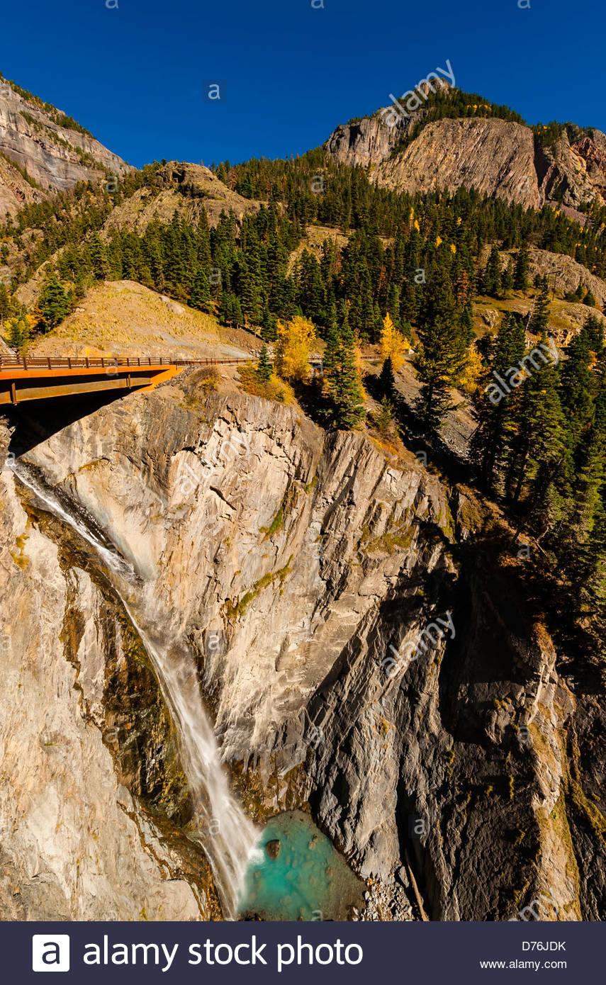 Red Mountain Pass (called the 'Million Dollar Highway) in autumn, between Ouray and Silverton, Colorado USA. - Stock Image