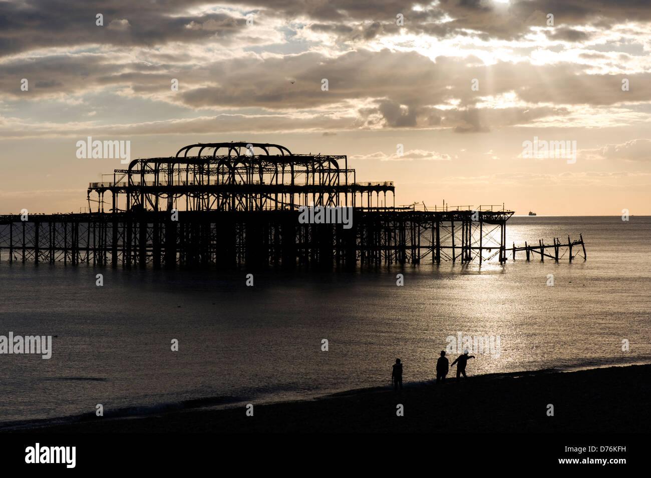 West Pier, Brighton beach, England Stock Photo