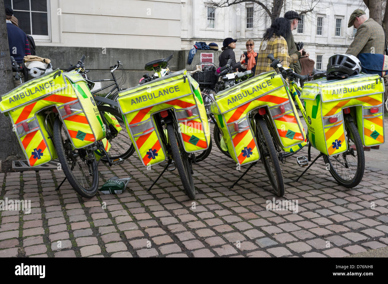 A row of Ambulance (Paramedic) bicycles. Picture by Julie Edwards - Stock Image