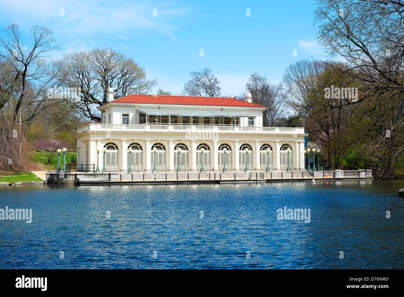 The boathouse on the lake in Prospect Park, Brooklyn which now is home to the Audubon Society. Stock Photo