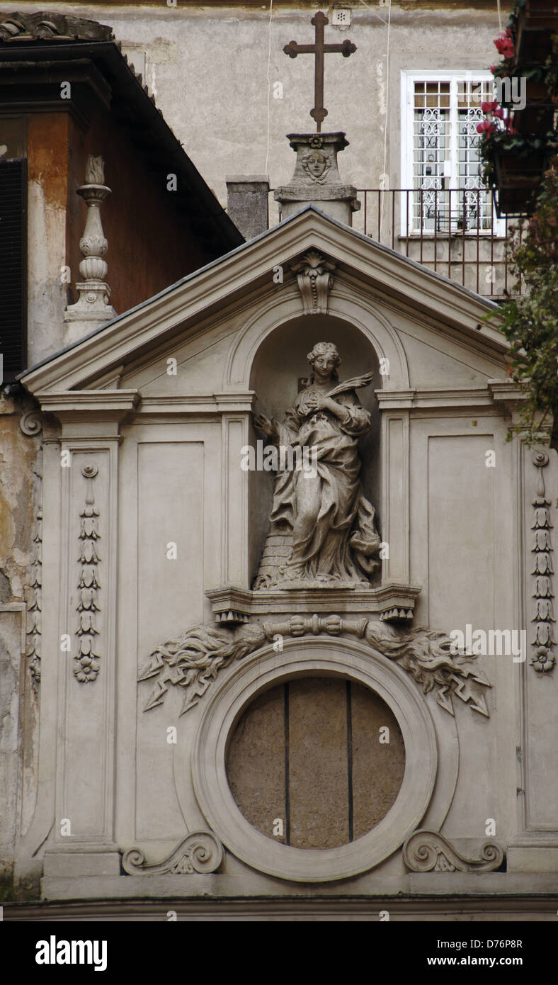 taly. Rome. Church of Saint Barbara of Librai. Facade by Giuseppe Passeri (1654-1714) and St. Barbara by Parisi - Stock Image