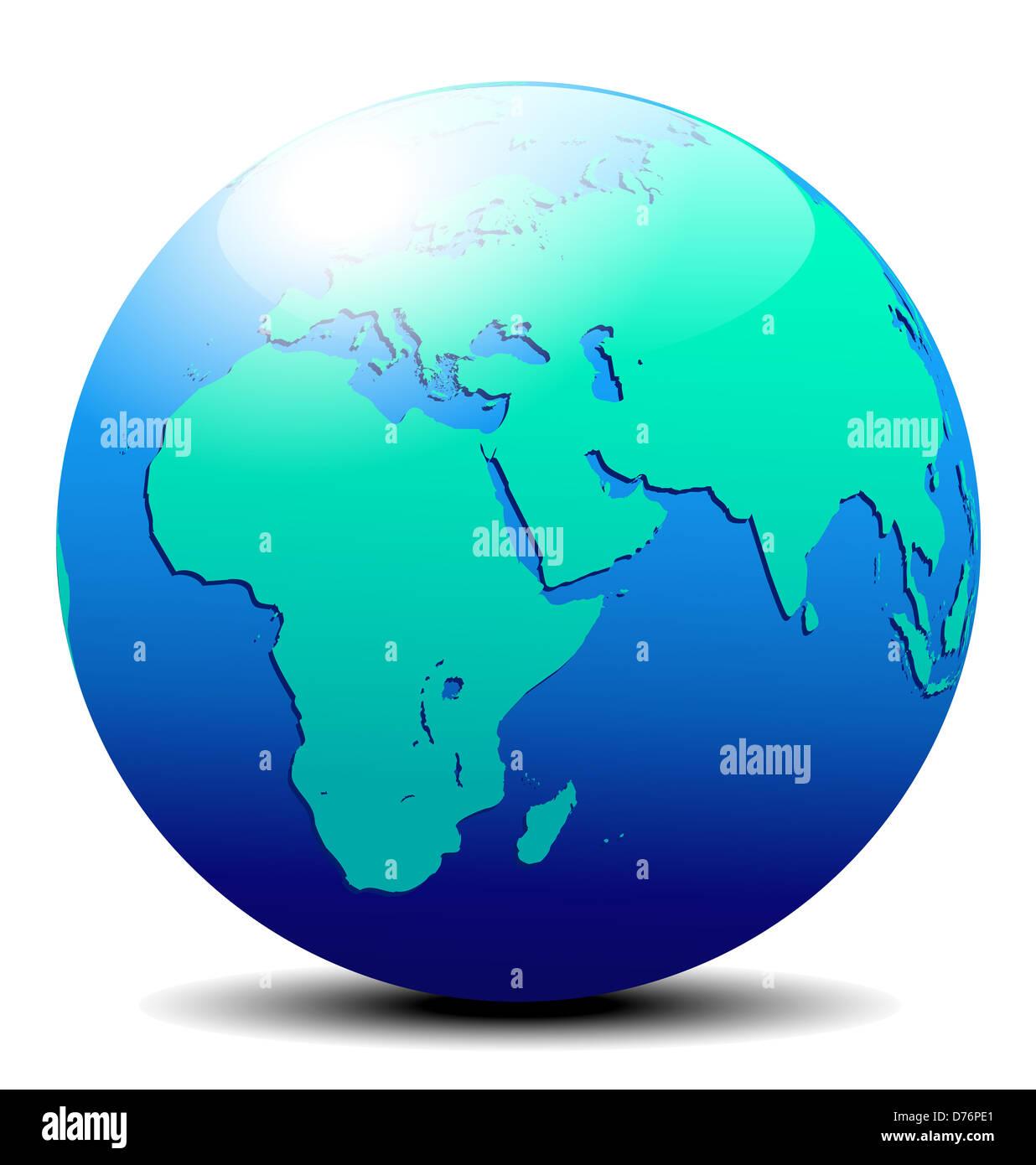 Africa, Arabia and India Global World Earth - Stock Image