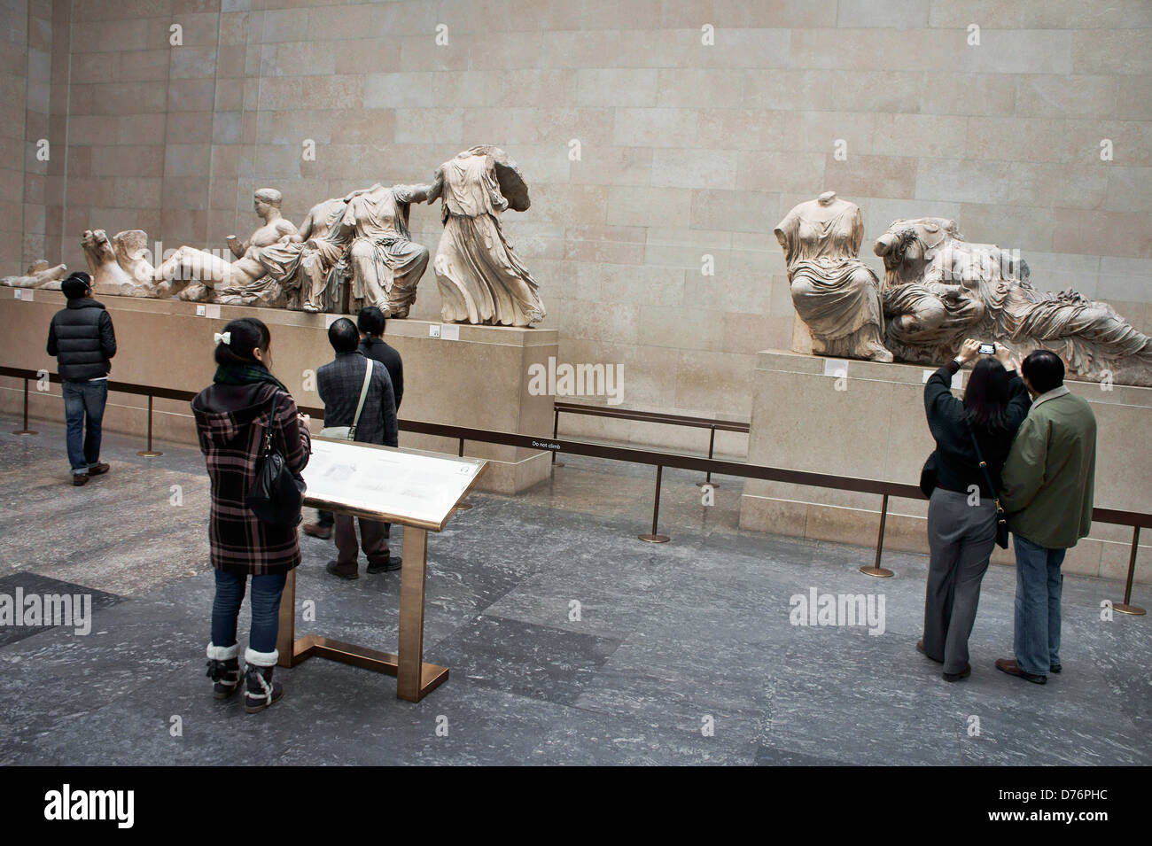Elgin Marbles. British Museum, London. Sculpture marble figures from east pediment of the Parthenon - Stock Image