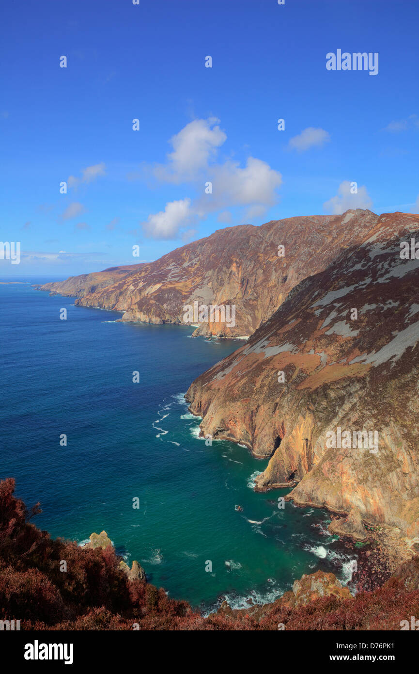 Image of Slieve League in Carrick, County Donegal, Ireland. Cliffs in Ireland. - Stock Image