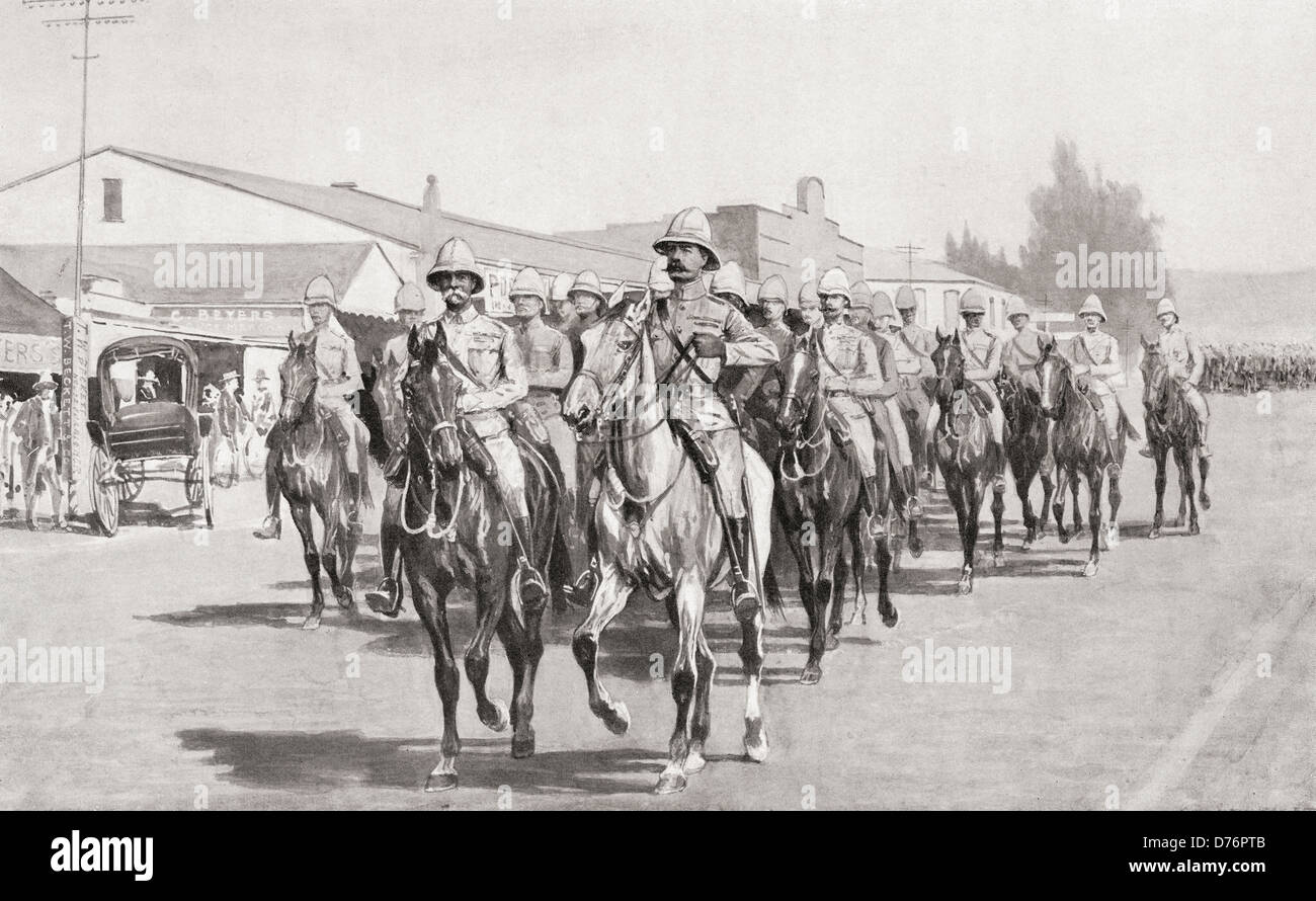 Lord Roberts, Lord Kitchener and staff riding into Pretoria, South African Republic after its surrender. - Stock Image