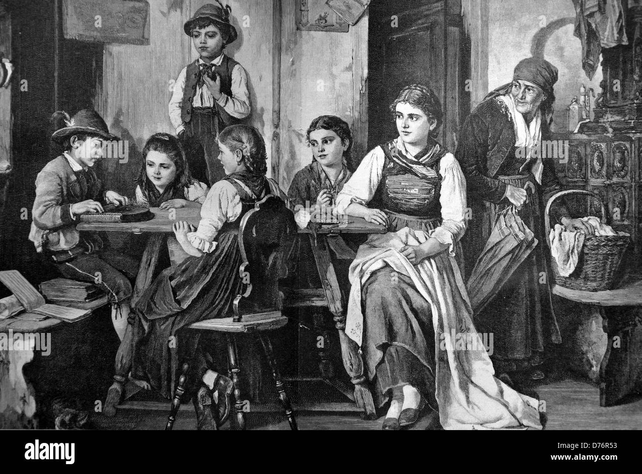 House music with zither, woodcut circa 1871 - Stock Image