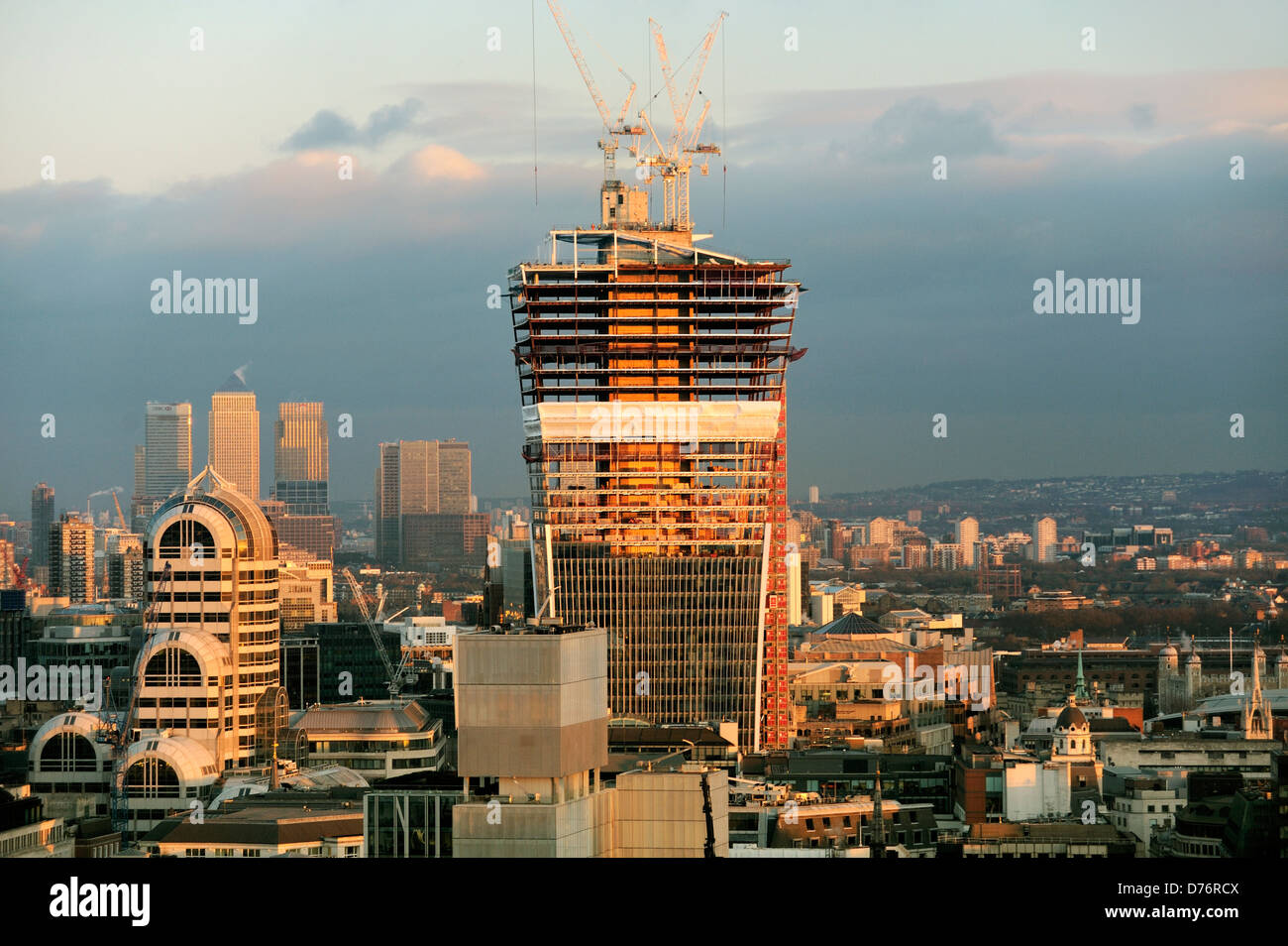 City of London skyline looking east. 20 Fenchurch Street, the Walkie-Talkie, showing core construction technique. - Stock Image
