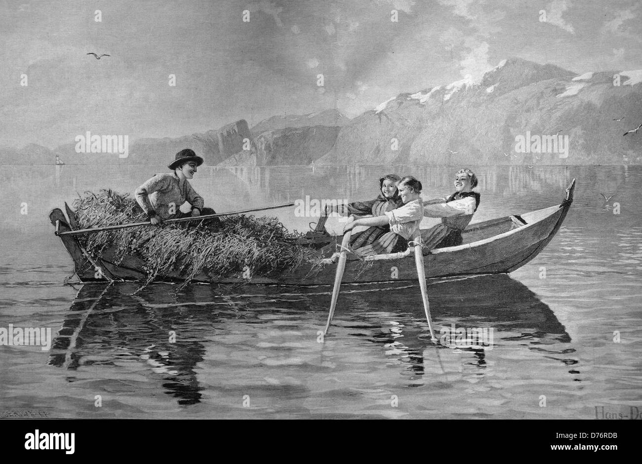 Boat ride with harvested grass, woodcut circa 1871 - Stock Image