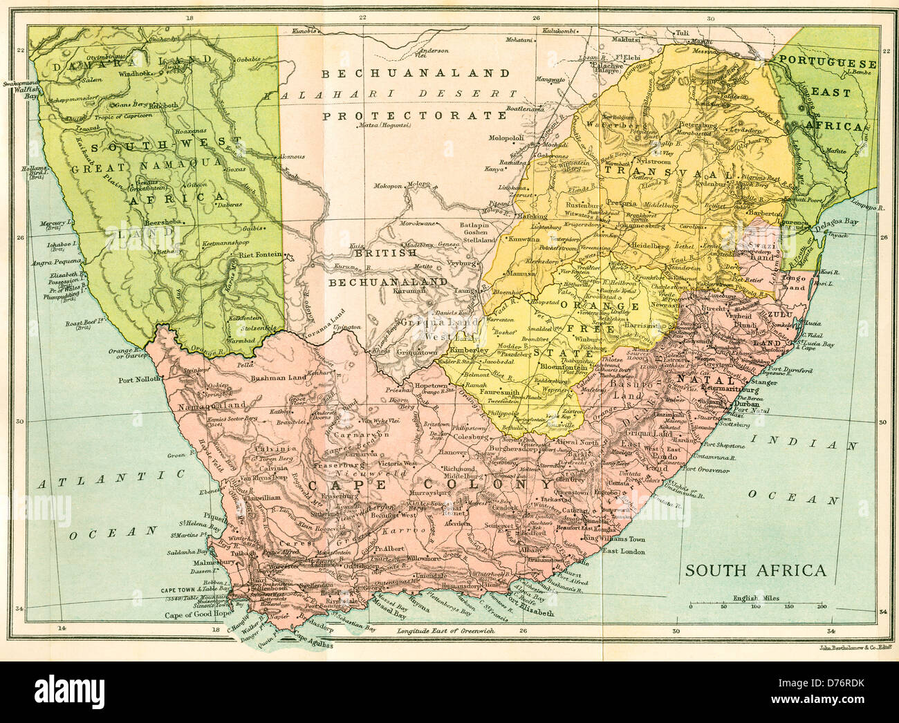 Map of South Africa since 1815, Kaffir and Boer Wars. - Stock Image