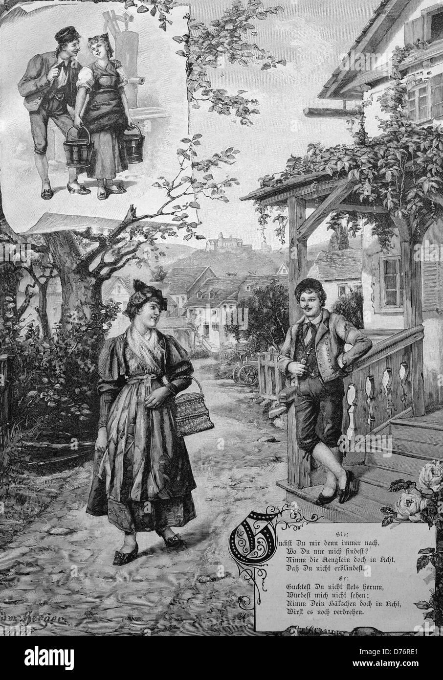 Love poem, couple around 1870, historical illustration - Stock Image