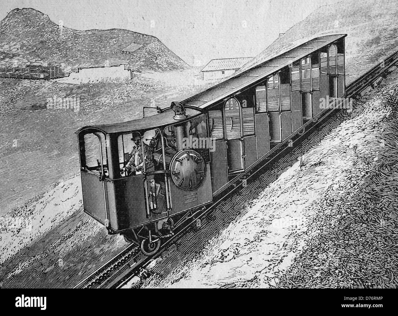 The Pilatusbahn railway, Switzerland, woodcut circa 1871 - Stock Image