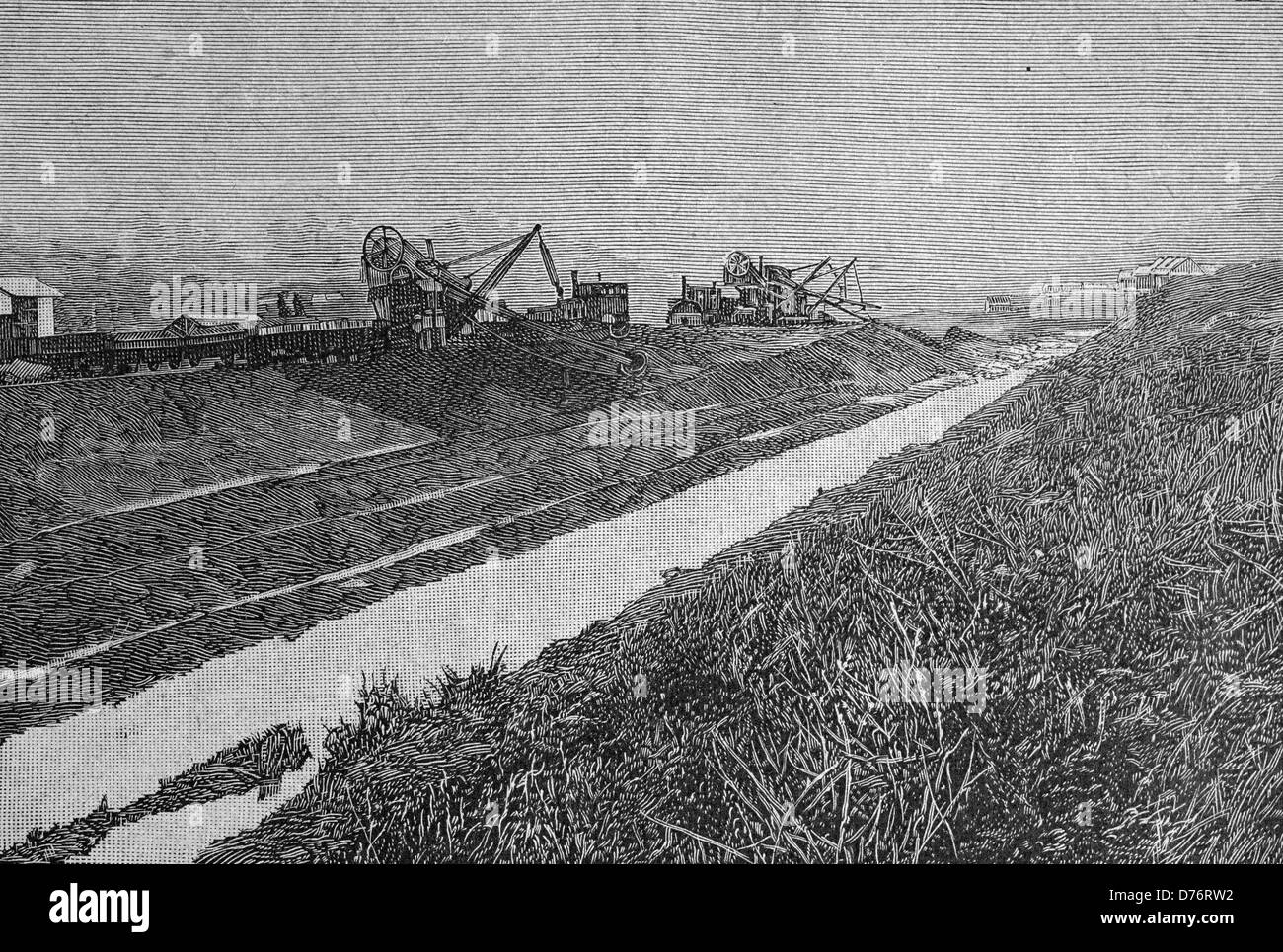 Construction of the Panama Canal, Central America, woodcut circa 1871 - Stock Image