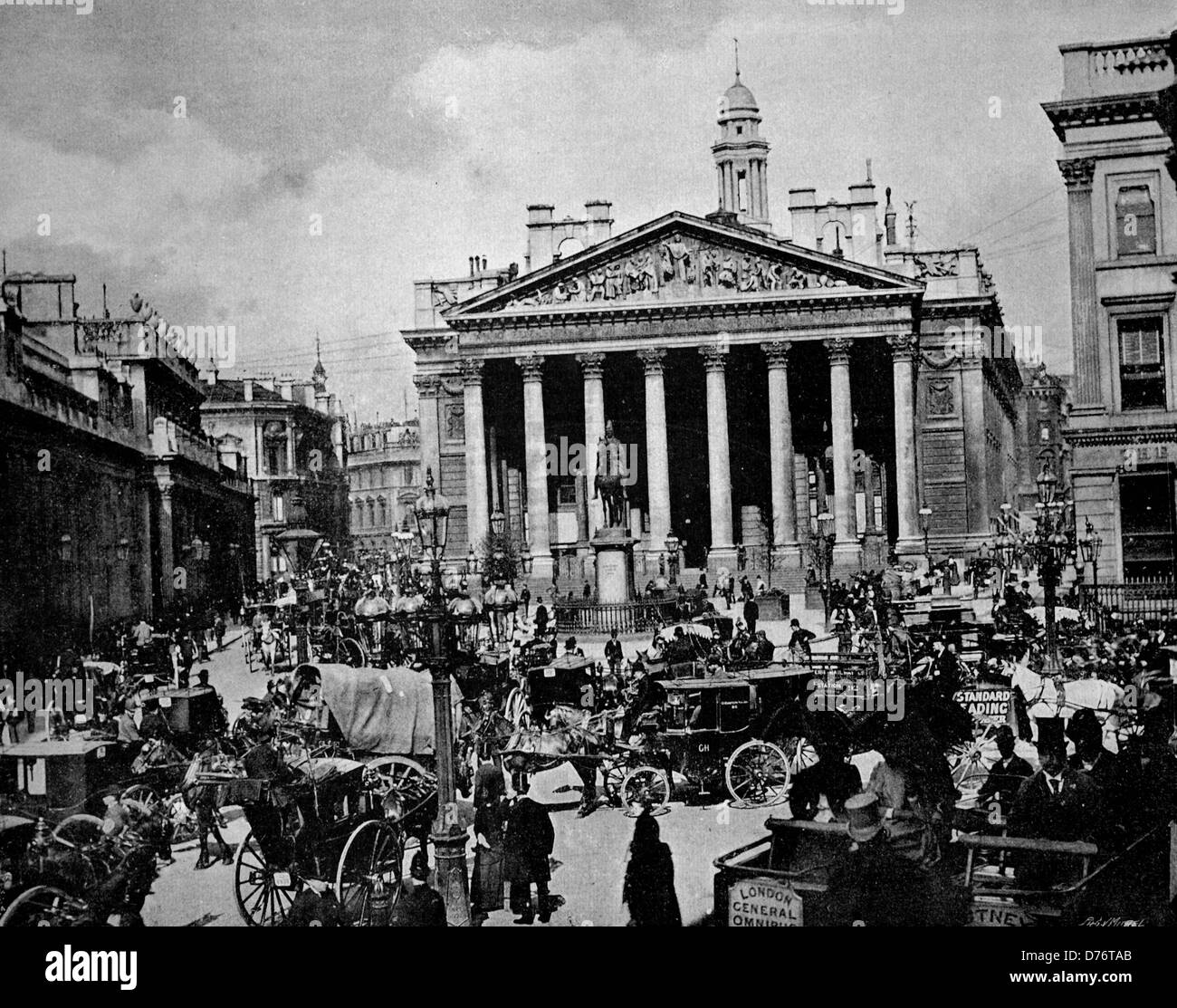 One of the first autotype photographs of the Royal Exchange in London, England, United Kingdom, circa 1880 - Stock Image