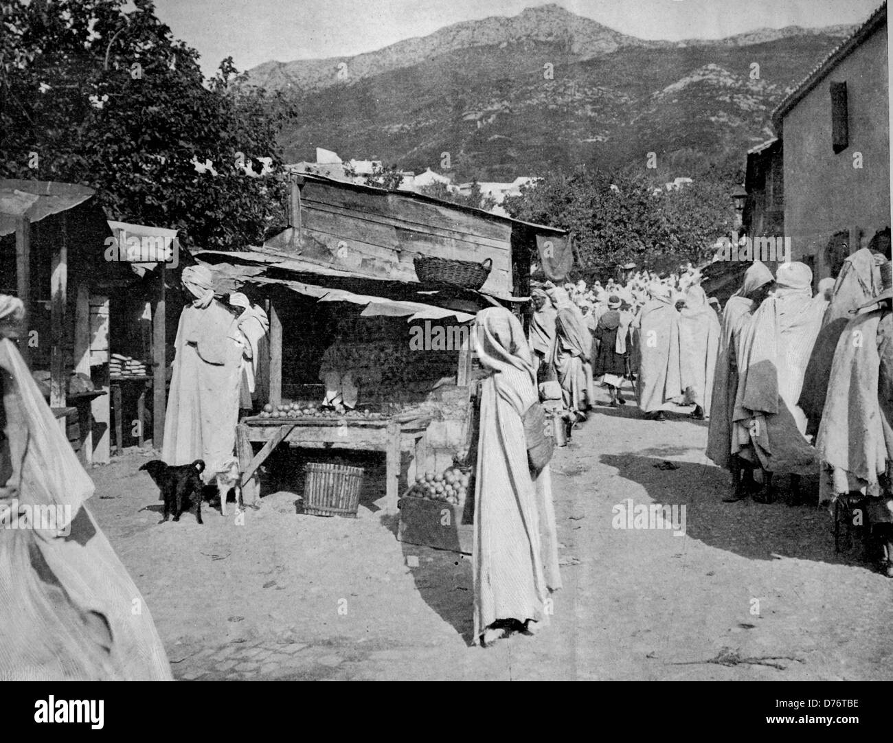 One of the first autotype photographs of a street scene in Bougie, Algeria Stock Photo