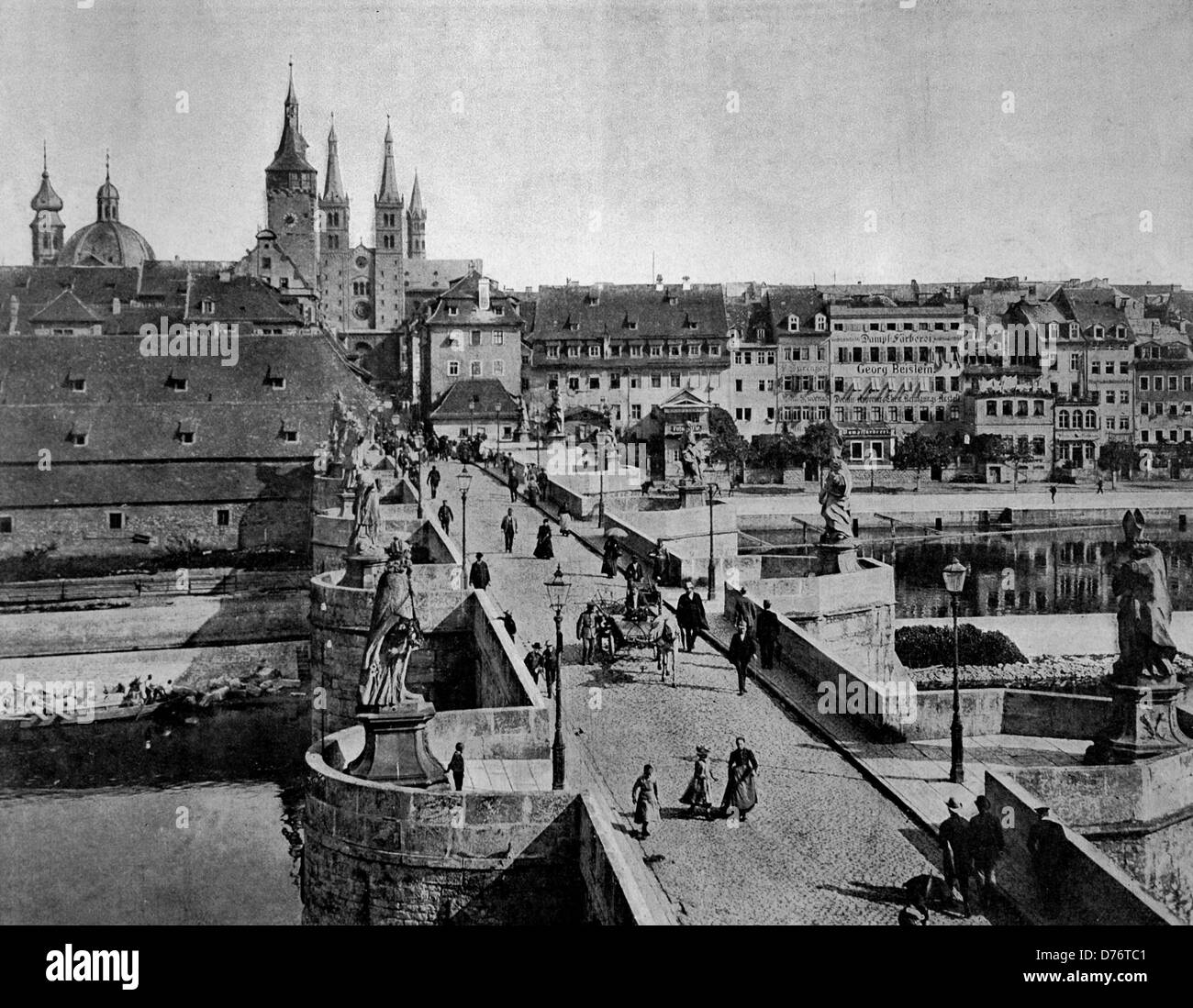 One of the first autotype photographs of Wurzburg, Bavaria, Germany, circa  1880