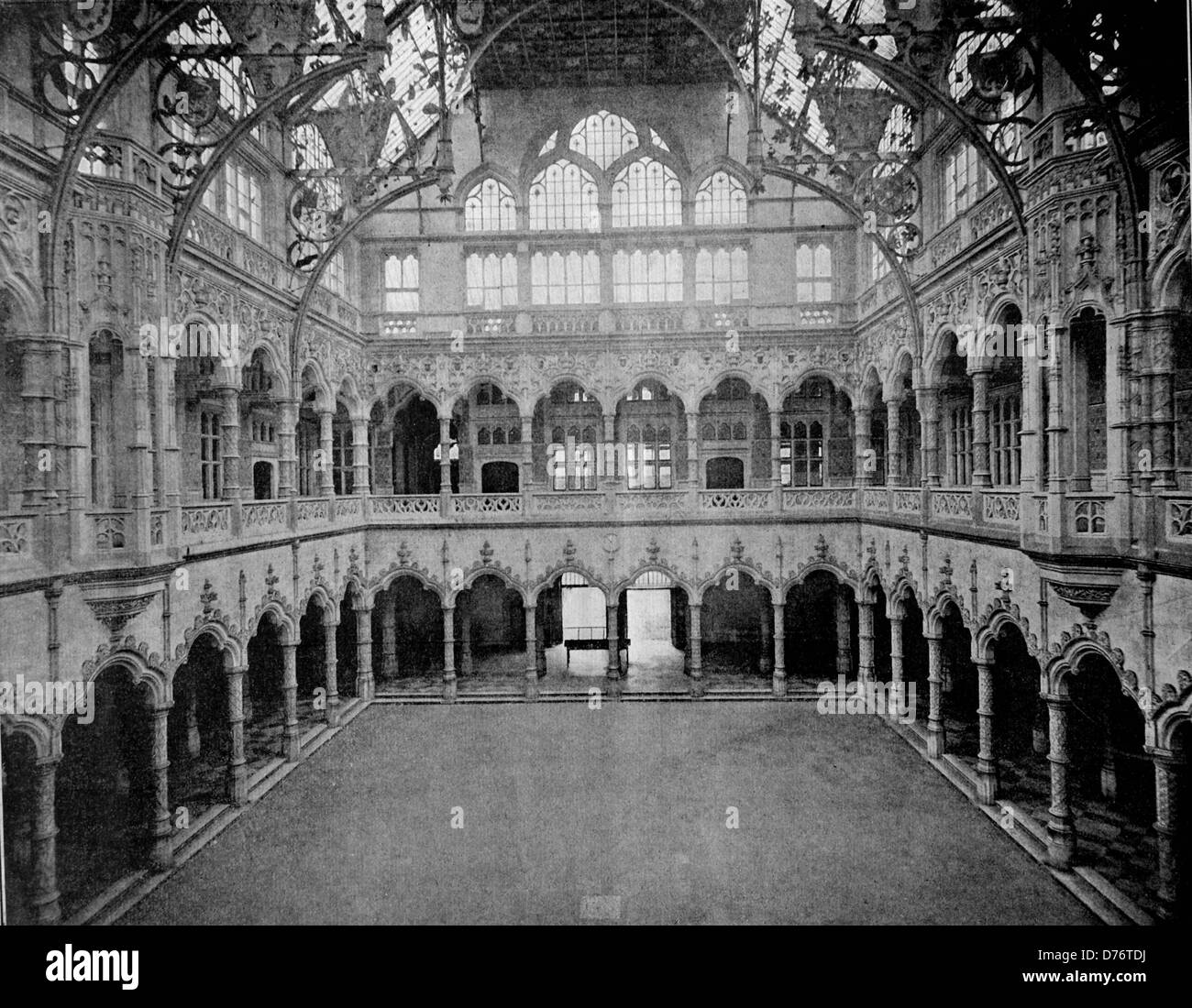 One of the first autotype photographs of the interior of the stock exchange, Bourse d'Anvers, Antwerp, Belgium, - Stock Image