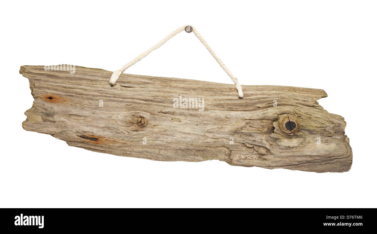 old grungy antique wooden plank of driftwood sign hanging on string great for notices - Stock Image