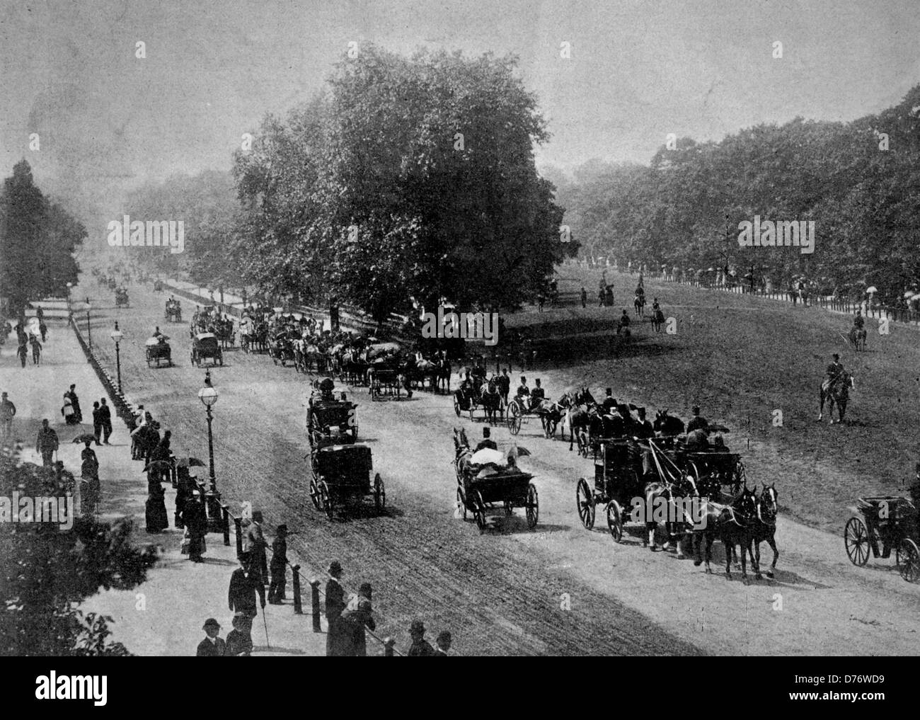 One of the first halftones, 1880,  Rottenrow and Hyde Park, London Stock Photo