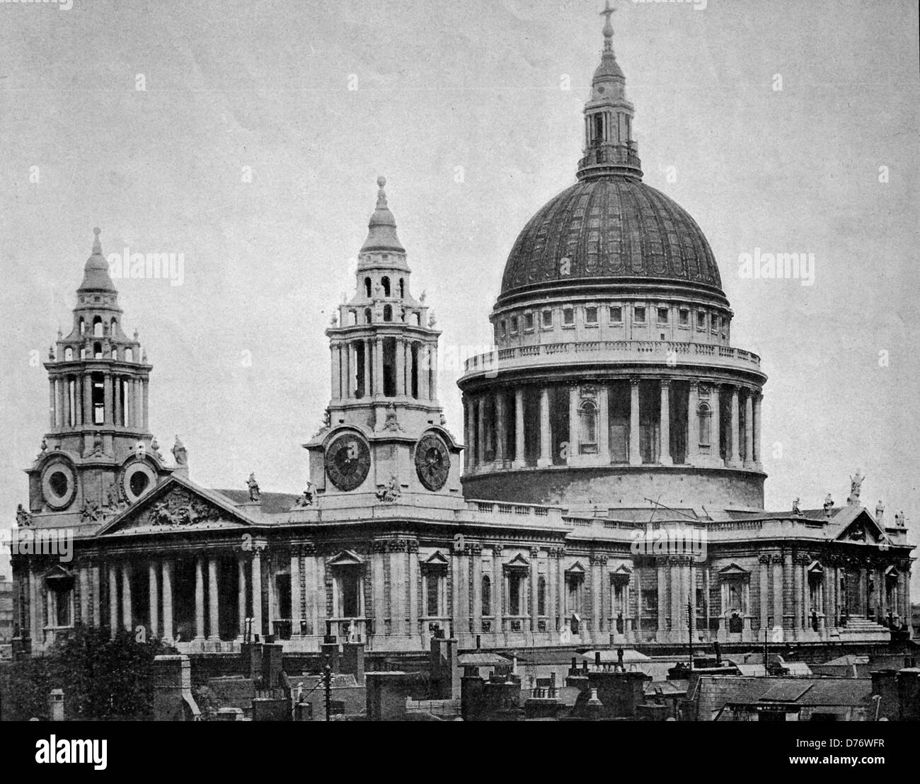 Early autotype of St. Paul's Cathedral, London, England, United Kingdom, 1880 - Stock Image