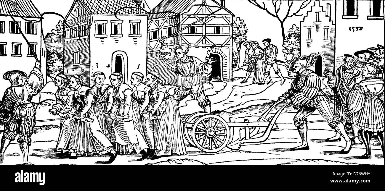 Carnival tradition: remaining unmarried women of the last year pulling a  plow, 1532, woodcut from 1880