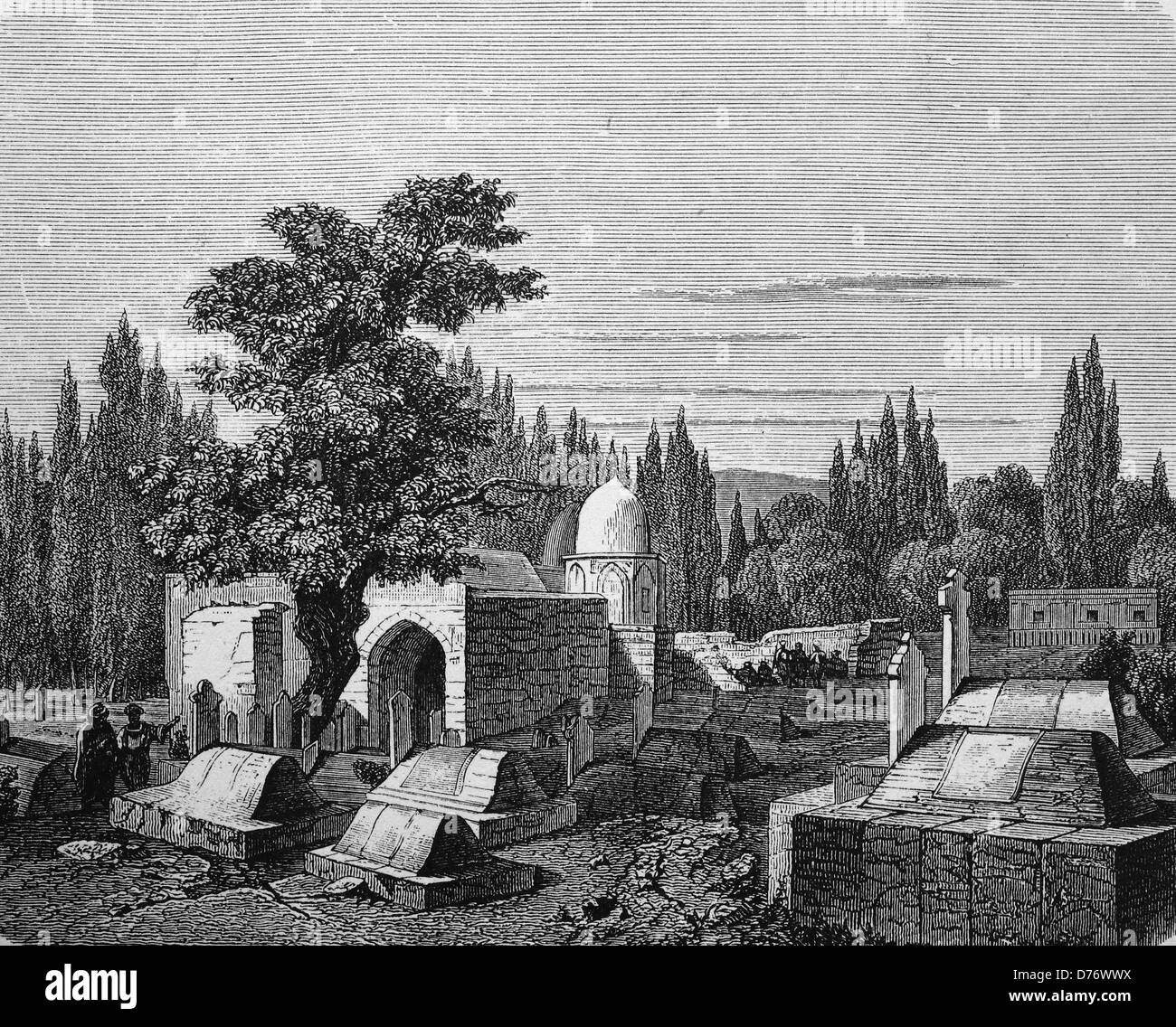 Caliph's tomb in Damascus, Syria, historical woodcut, 1870 - Stock Image