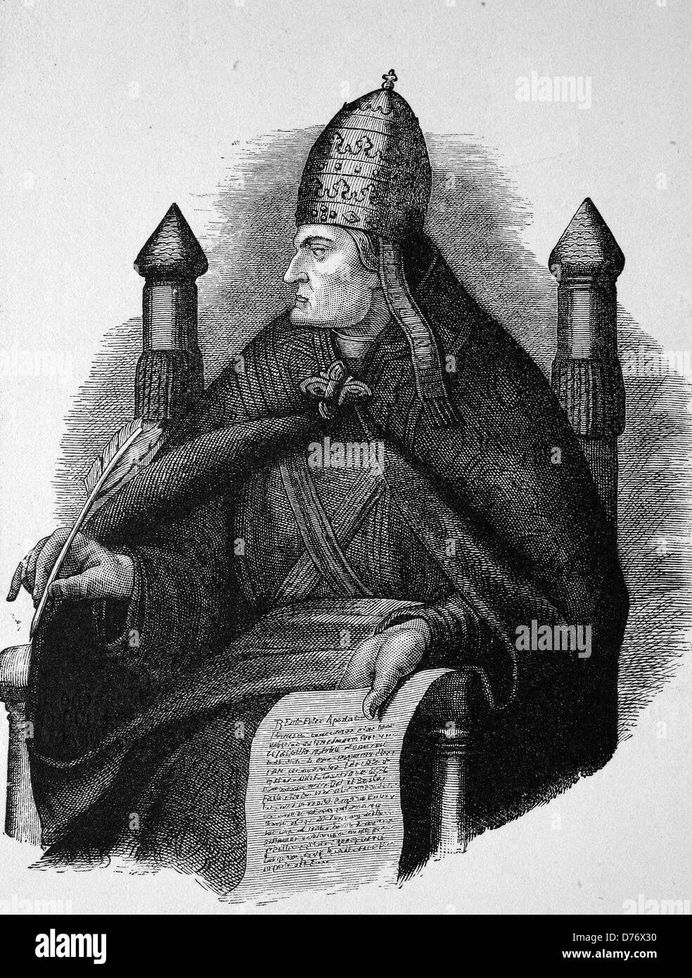 Gregory VII, Hildebrand of Soana, 1020 - 1085, Pope from 1073 - 1085, historical woodcut, 1870 - Stock Image