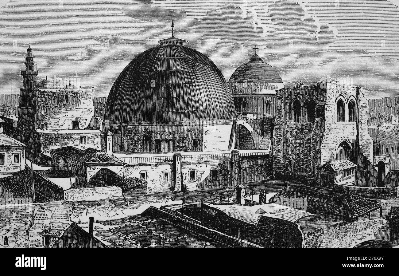 Church of the Holy Sepulchre in Jerusalem, Israel, historical woodcut, 1870 Stock Photo