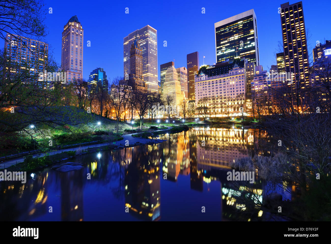 Central Park and luxury apartment and office buildings in New York City - Stock Image