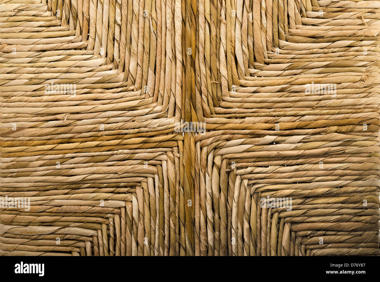 Close Up of a Woven Wicker Basket Chair - Stock Image