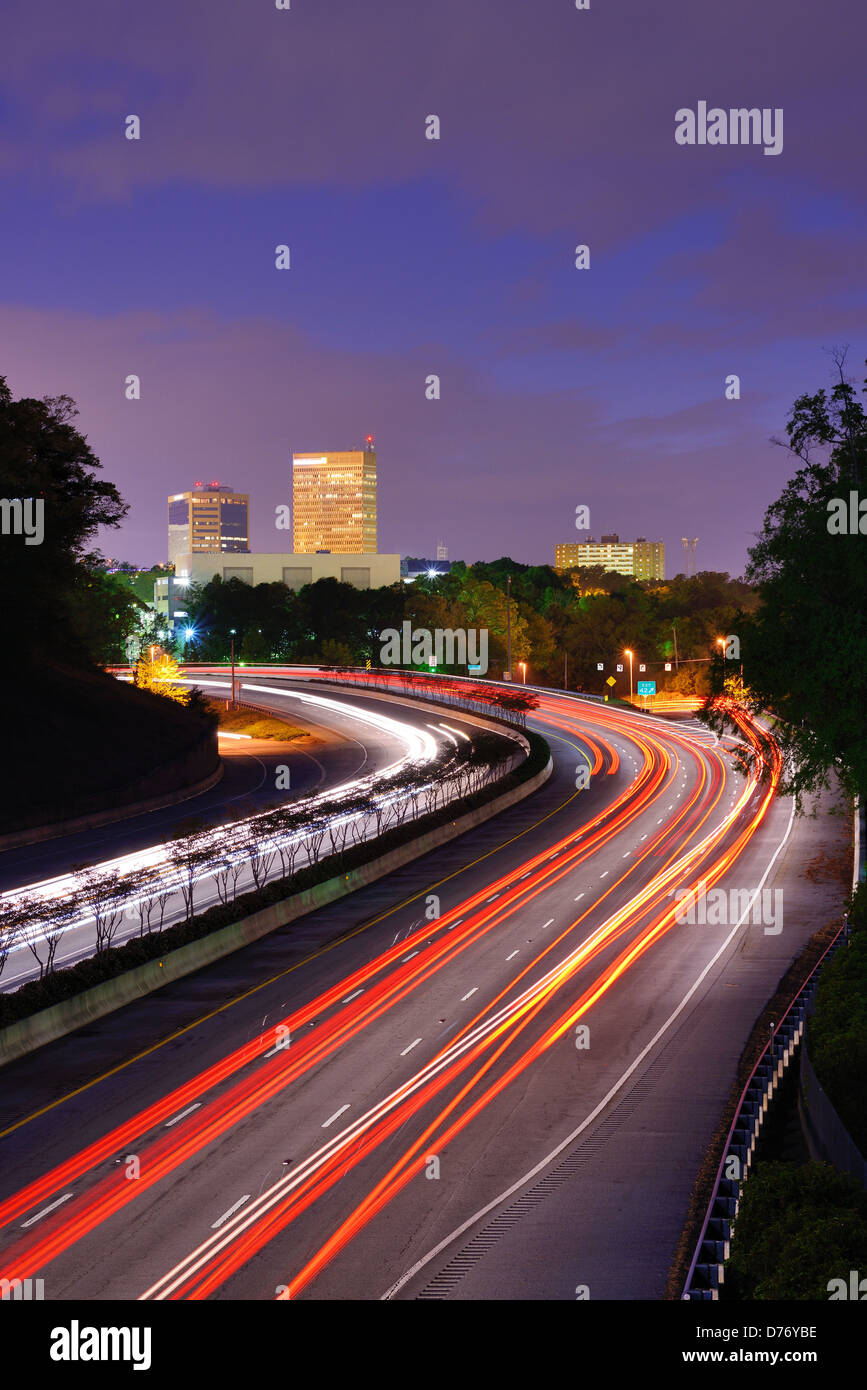Greenville, South Carolina skyline above the flow of traffic on Interstate 385. - Stock Image