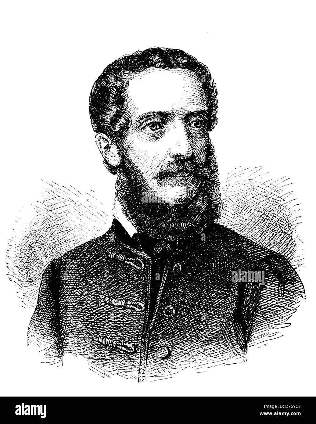 Louis Kossuth, 1802 - 1894, Hungarian national hero, historical woodcut, circa 1880 Stock Photo