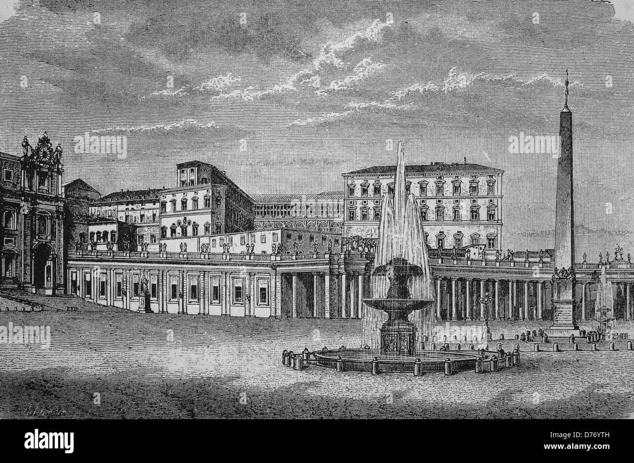Vatican City, Rome, Italy, historical woodcut, circa 1865 - Stock Image