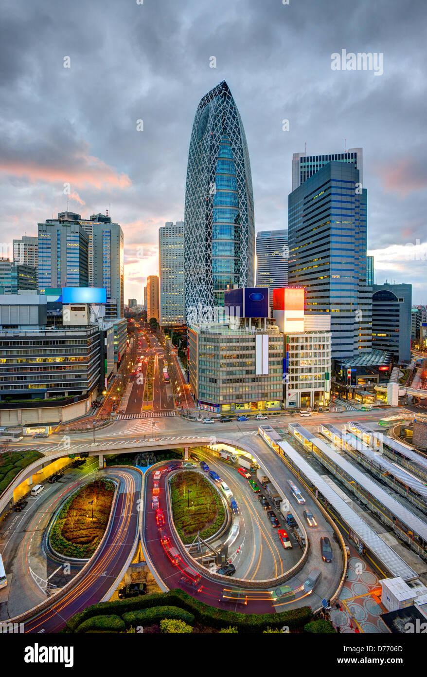 Shinjuku district cityscape of Tokyo, Japan - Stock Image