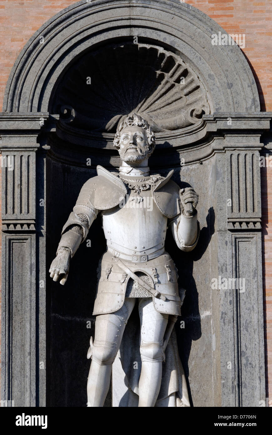 Naples. Italy. Statue of Charles V of Habsburg or Carlo V d Asburgo on facade of the Palazzo Reale or Royal palace. - Stock Image