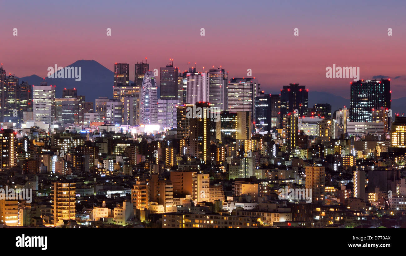 Skyline of Shinjuku, Tokyo, Japan with Mt. Fuji visible - Stock Image