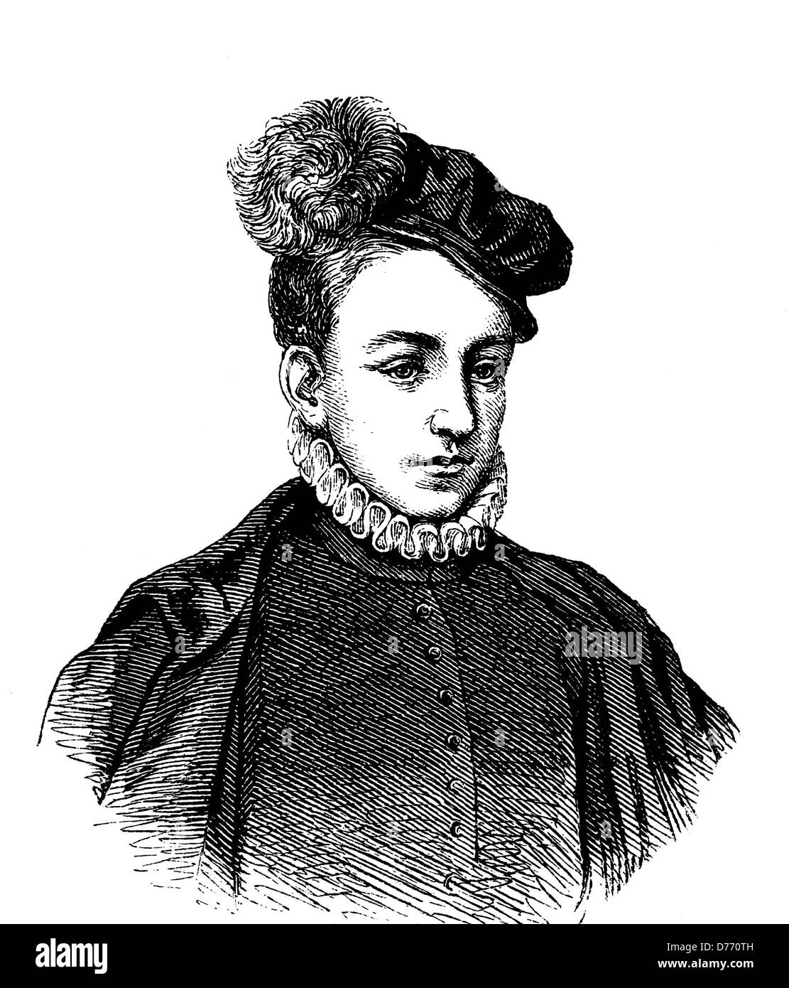Charles IX of Valois, 1550 - 1574, King of France, historical woodcut, 1880 Stock Photo