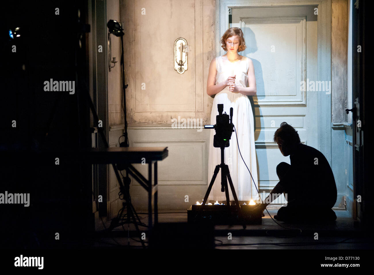 London, UK - 30 April 2013: Luise Wolfram interprets Miss Julie during the Fräulein Julie dress rehearsal at - Stock Image