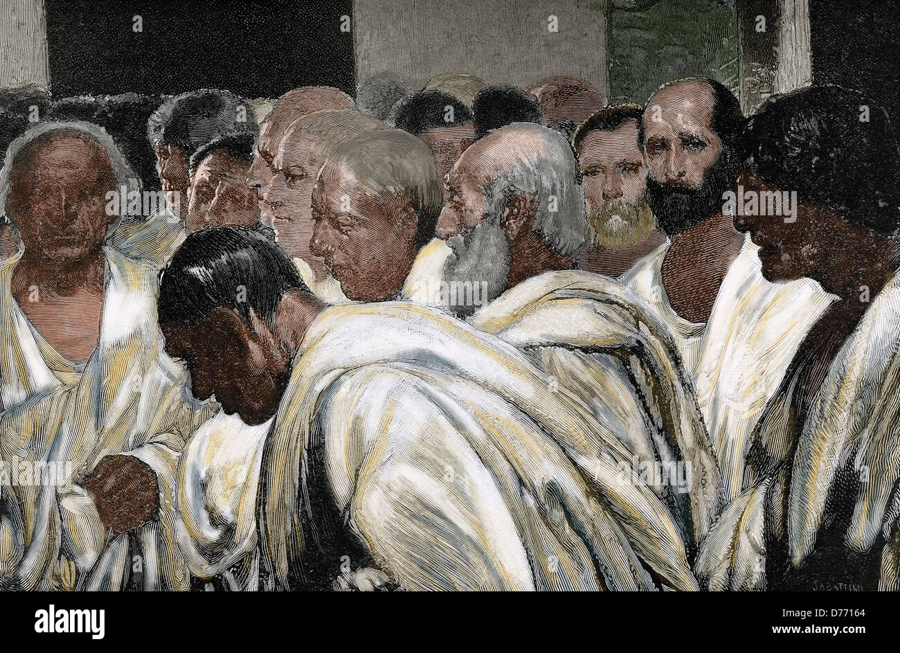 Appius Claudius the Censor (340-273 BC). Roman Censor. Engraving by Sabattini after a fresco by Cesare Maccari. - Stock Image